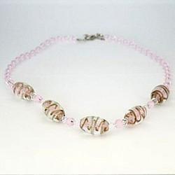 Perlekæde - Lyserød med store perler