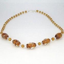 Perlekæde - Brun med store perler