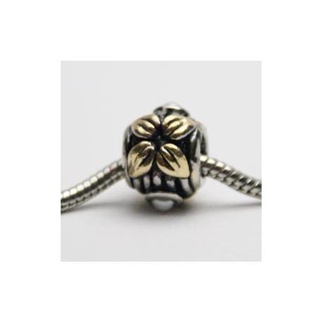 Guld-blade med hvid perle