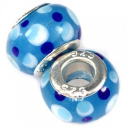 Blå glaskugle med prikker