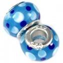 Blå glas charm med prikker