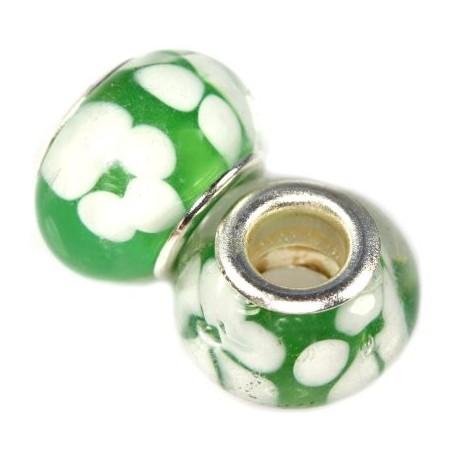Grøn glas charm med hvide blomster