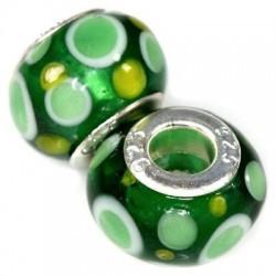 Glas charm med grønne prikker