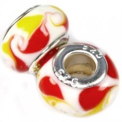 Hvid glas charm med gult og rødt