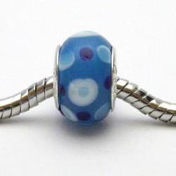 Blå glaskugle med prikker (pk. med 5 stk)