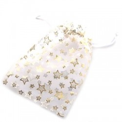 Hvid smykkepose med stjerner