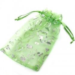 Grøn smykkepose med hjerter