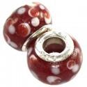 Rød glas charm med prikker